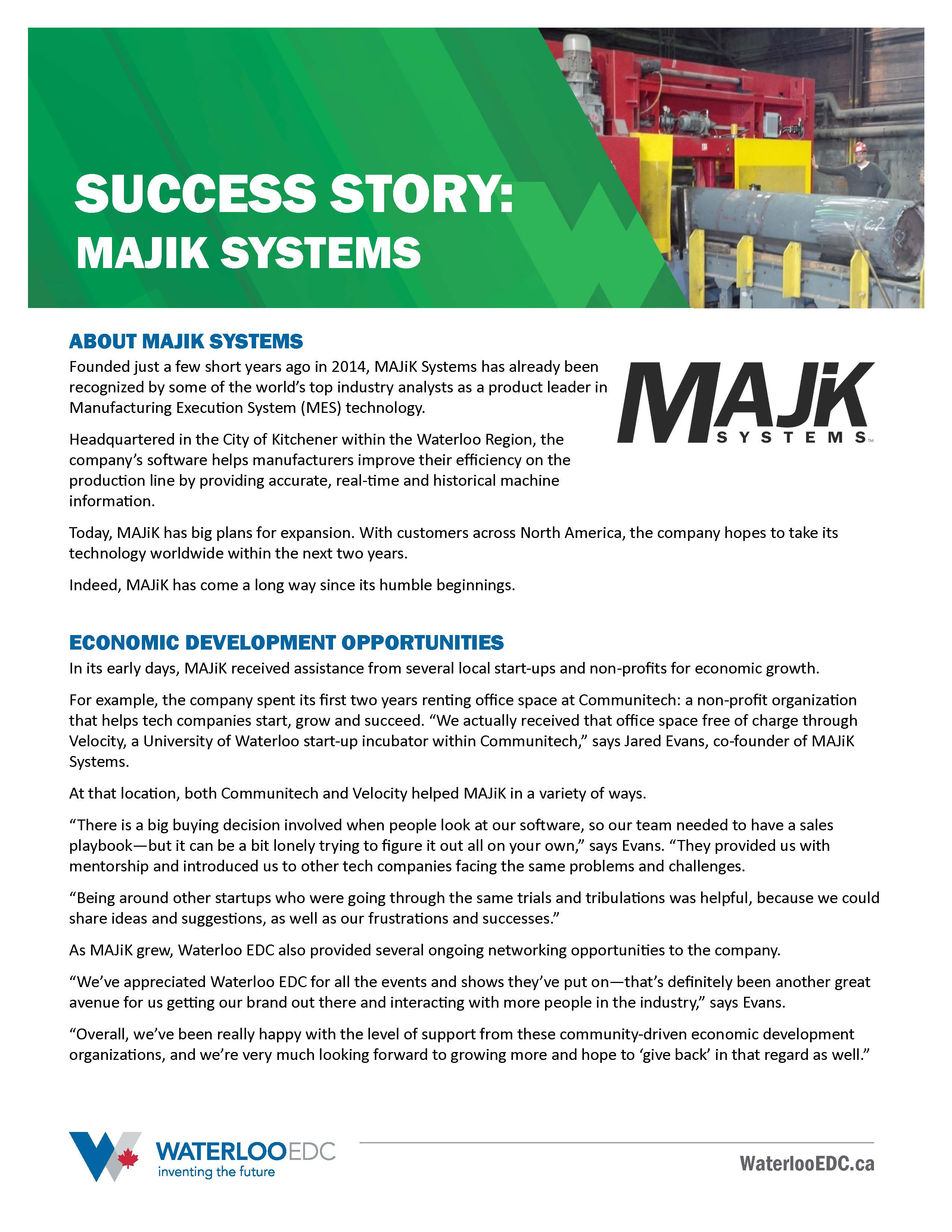 Majik Systems Success Story Front Page