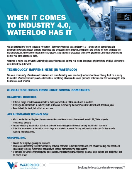 Industry 4.0 Feature Sheet - download pdf
