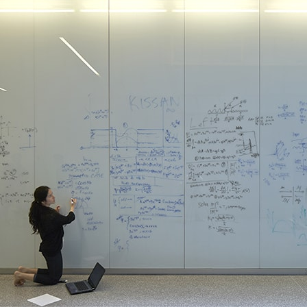 Woman writing equations on whiteboards
